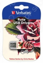 Флеш Диск USB 16Gb Verbatim Store n Go Mini Tattoo Rose белый/узор
