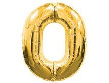 Шар фольгированный цифра 0 Gold