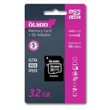 Карта памяти microSDHC 32GB Class 10 UHS-I, с адаптером, OLMIO