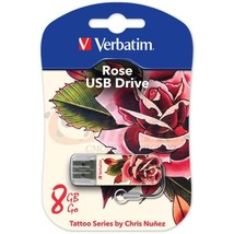 Флеш Диск USB 8Gb Verbatim Store n Go Mini Tattoo Rose белый/узор