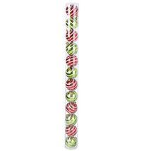Набор шаров пластик d-6 см (набор 12 шт) полоска красно зеленый
