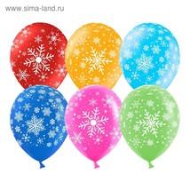 "Шар латексный 12"" Снежинка"