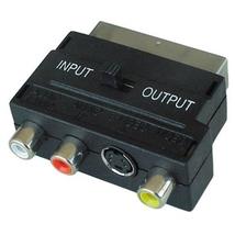 Переходник SCART - 3 RCA (Скарт - колокольчики) с переключателем