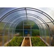 "Теплица ""Ферма"" двойная дуга ( супер крепкая), 10 на 3 (2,5) метра,высота 2,05 метра  (шаг 1 м, поликарбонат 4мм.) 2 двери,2 форточки"
