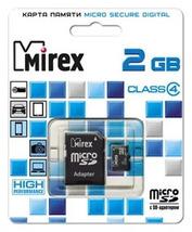 Карта памяти MicroSDHC MIREX 2Gb, class 4 + SD адаптер