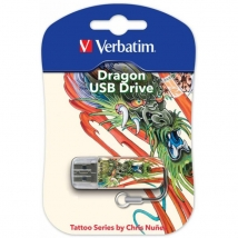 Флеш Диск USB 8Gb Verbatim Store n Go Mini Tattoo Dragon белый/рисунок
